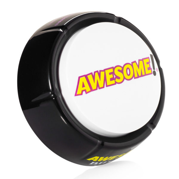 vertical side view of the original Awesome Button